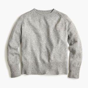 J.Crew Cashmere Sweater Ribbed Neck Gray Boxy M